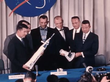 """On April 9, 1959, the Mercury Seven were introduced to the world (and each other) for the first time. Scott Carpenter, Gordo Cooper, John Glenn, Gus Grissom, Wally Schirra, Alan Shepard, and Deke Slayton were announced as NASA's original astronauts, """"selected to begin training for orbital space flight."""""""