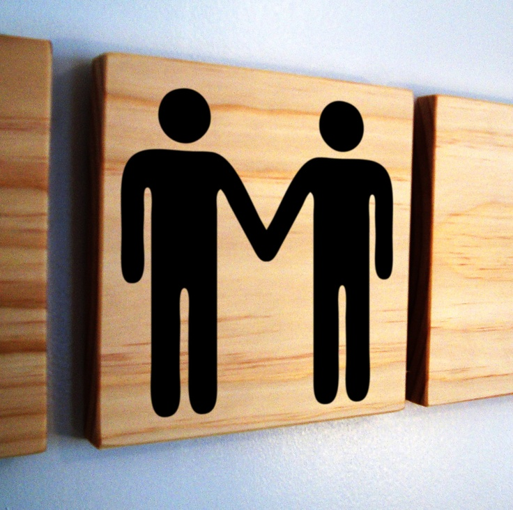 Helvetica man and man holding hands- wooden block with custom decal- cute gay couple wedding gift