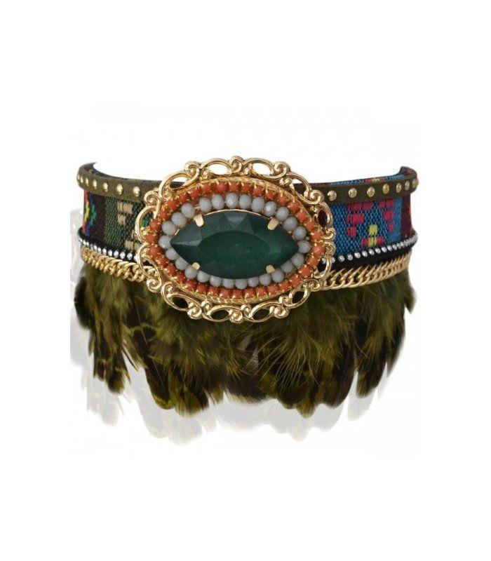 Bootbelt met veren en grote steen | Mooie laarsriem met veren | Trendy bootbelt | Yehwang fashion en sieraden