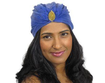 Blue Turban Hat with Gold Druzy Crystal,Vintage,Birthday,Gift,Costume,Cancer, Aladdin, , Tarot, Hair, Art Deco, Gift, Bohemian, Costume, blue, cotton, silk, lining, gold, druzy, crystal, stone, thread, tulle, metal, vintageFabric, beige, tan,