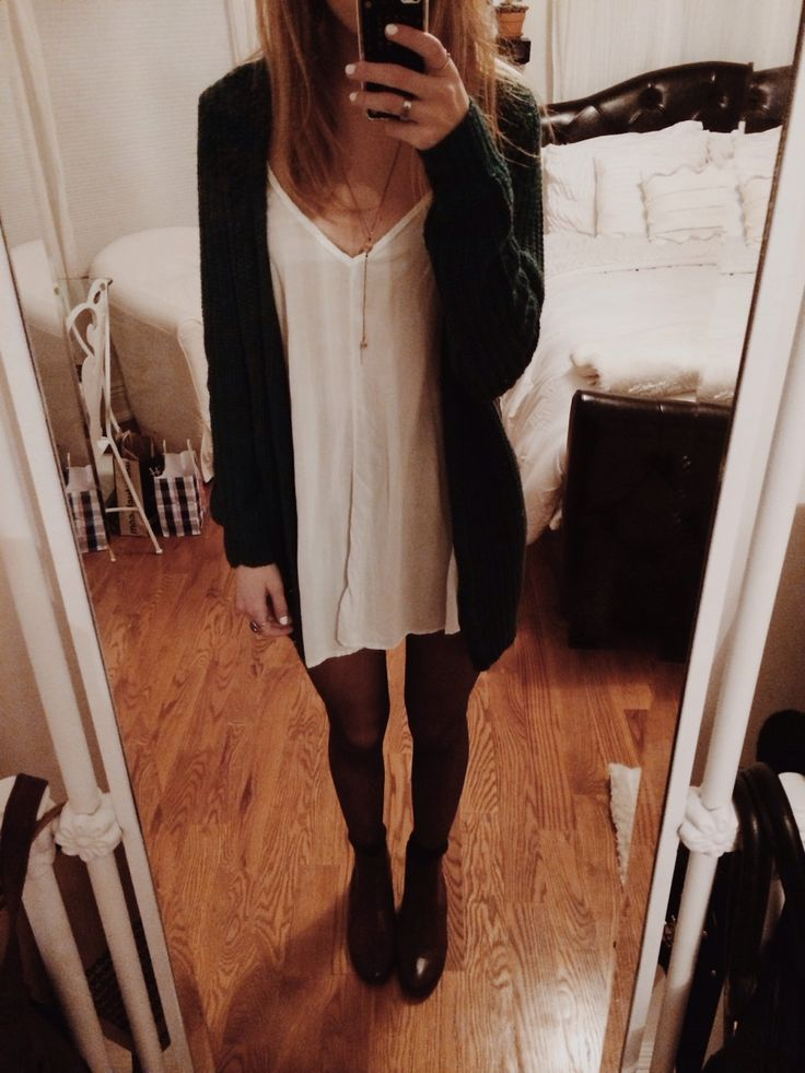 Great way to wear tights in the fall! A plain dress you may have dressed up with accessories in the summer; wear some tights, booties, and a long sweater and BOOM! Fall :) maybe even a colored scarf to pop if everything else is neutral.