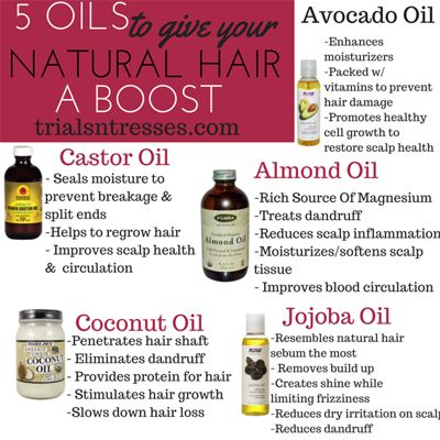 5 Oils To help grow your natural hair and give your hair a boost in between wash days. Free printable included !