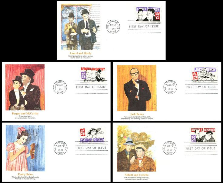 Set Includes: 2562 Stan Laurel and Oliver Hardy / 2563 Edgar Bergen and Dummy Charlie McCarthy / 2564 Jack Benny / 2565 Fanny Brice and 2566 Bud Abbott and Lou Costello . Have description of the stamp subject printed on the back. ARE IN MINT, UNADDRESSED CONDITION.