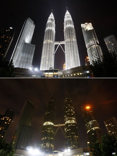 Cities around the world, including here in Kuala Lumpur, Malaysia, have gone dark as people turn off lights as part of the annual Earth Hour campaign.