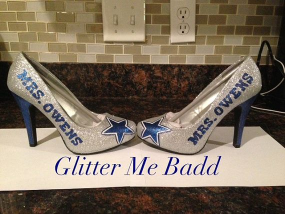 Wedding name with your choice of design Dallas Cowboys Themed wedding heels / shoes