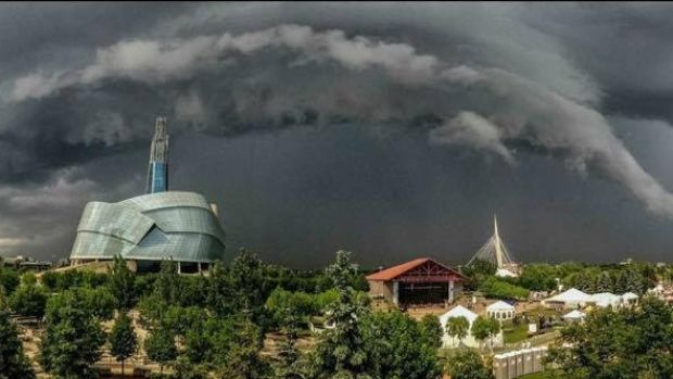 Diane Hammerling snapped this photo of a storm cloud over Winnipeg's Canadian Museum for Human Rights over the weekend.