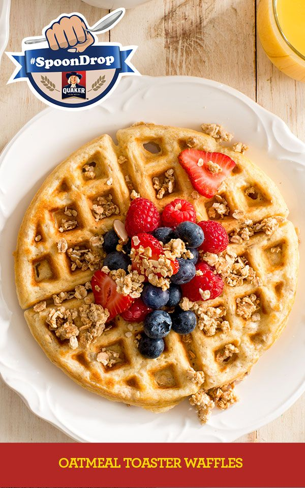 Own Mornings. #SpoonDrop To save time on those busy mornings, these waffles can be made ahead and frozen, then popped into the toaster as part of a complete breakfast. Full Recipe: http://www.quakeroats.ca/recipes/oatmeal-toaster-waffles
