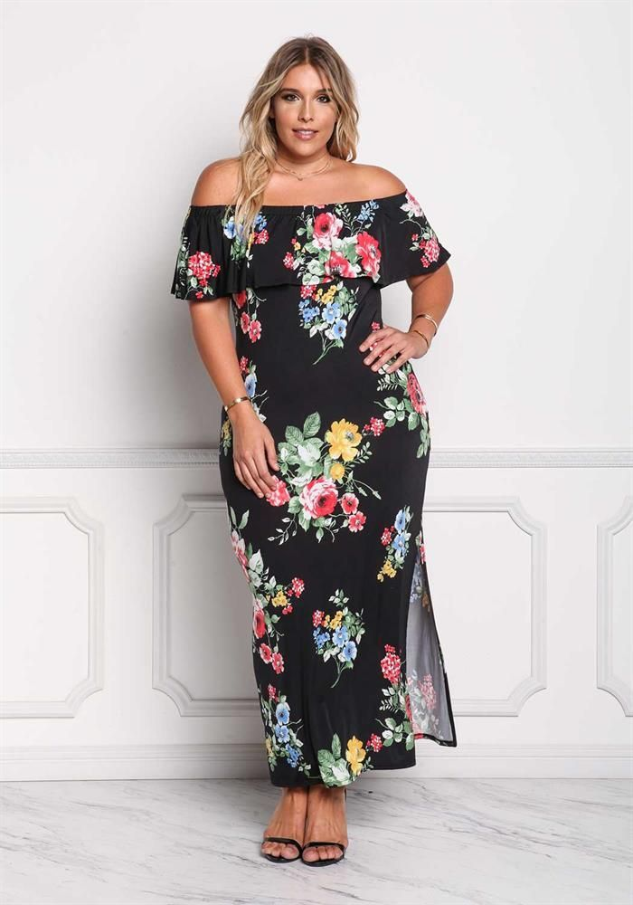 Plus Size Clothing | Plus Size Off Shoulder Floral Maxi Dress ...