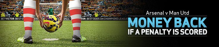 Arsenal v Man Utd  Saturday 22nd November – Sky Sports  If a Penalty is scored at any time during the Arsenal v Man Utd match, we'll refund losing Correct Score, First/Last/Anytime Goalscorer, Half-Time/Full-Time, Scorecast & Spincast bets as a FREE BET up to £10.