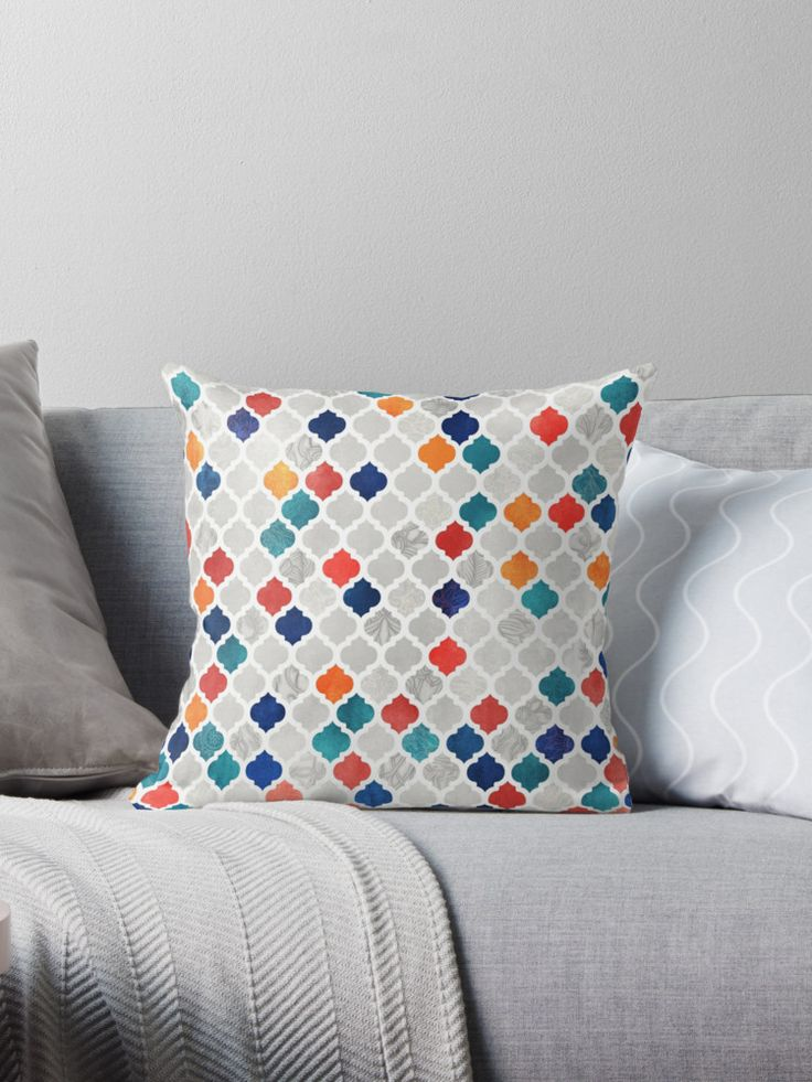I'm loving these colours together at the moment. / A Moroccan style pattern in shades of navy blue, deep teal, dark red and burnt orange on pale grey & white, with delicate doodled details and textures. • Also buy this artwork on home decor, apparel, stickers, and more.