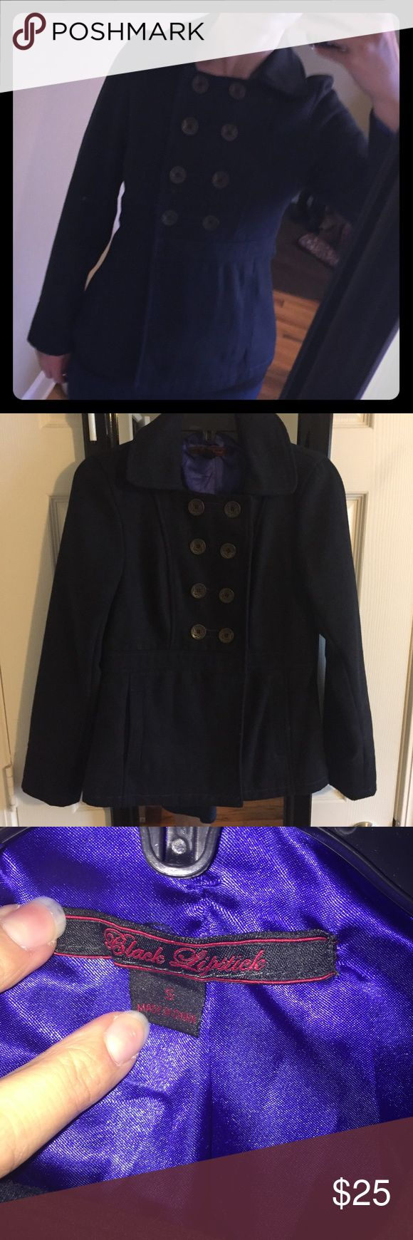 Navy Pea Coat Cute Navy Pea coat with 8 gold buttons. Black Lipstick Jackets & Coats Pea Coats