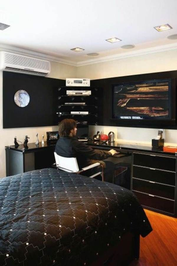 Bedroom, Masculine White Small Mens Bedroom Ideas With Wonderful Black Storage Units Decor Even Awesome Wall Computer Screen Place Design.jpg ~ Excellent Mens Bedroom Ideas for Masculine Side of Interior Design