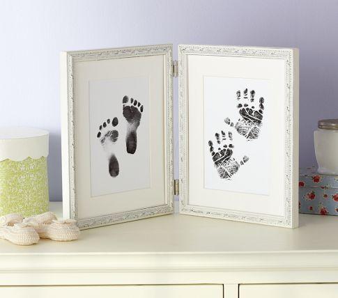 Nice idea as a keepsake!: Gifts Ideas, Gift Ideas, Foot Prints, Footprint Frames, Suzann Handprint, Pottery Barn Kids, Pottery Barns Kids, Baby Stuff, Handprint Footprint