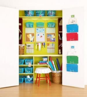 Convert a closet into a crafts room. Simply shut the doors when not in use and your craft room is concealed.