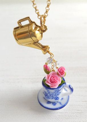 Flowers In a Teacup Jewelry Necklace