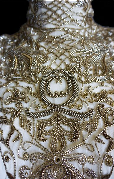 McQueen. Close up embroidery details. Fashion couture.