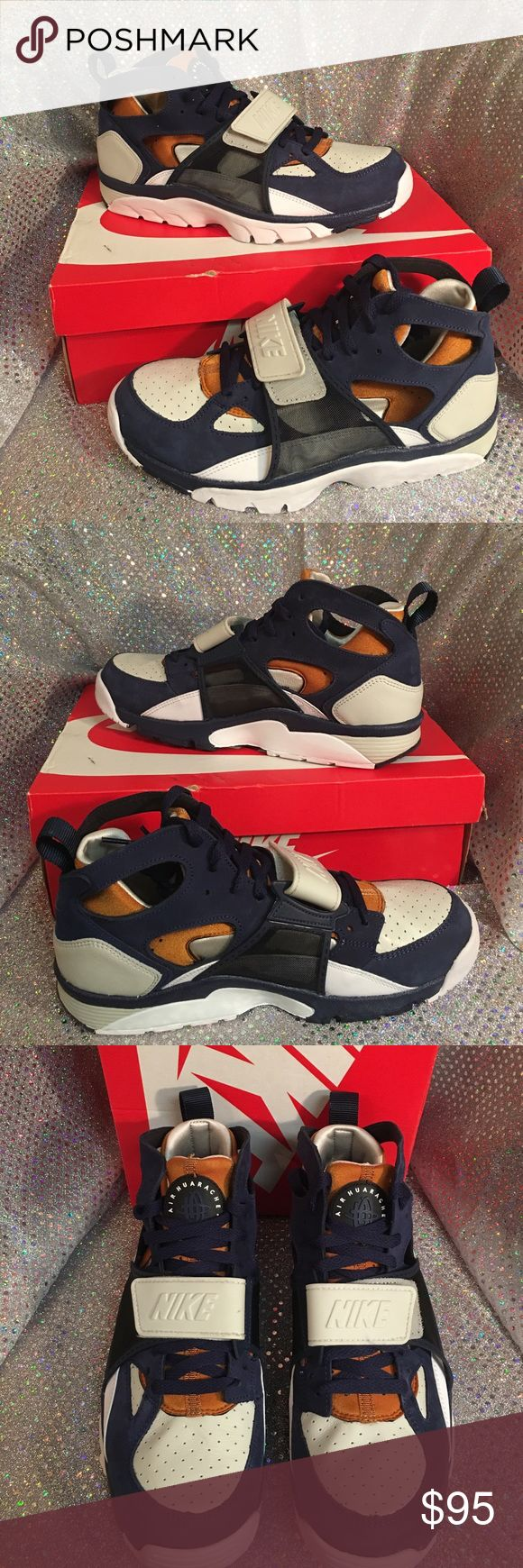 NIKE AIR TRAINER HUARACHE PRM New in box. NIKE HUARACHE. Colors are navy blue, white, bone and mustard gold like color. Size 9.5 men. Thanks for checking out ✅my closet HAPPY POSHING  Nike Shoes Sneakers