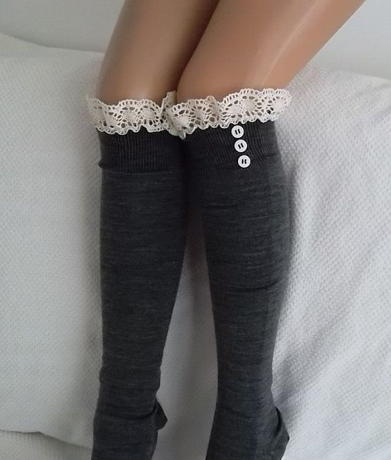 Hey, I found this really awesome Etsy listing at https://www.etsy.com/listing/171196630/grey-socks-boot-socks-leg-warmers-lace
