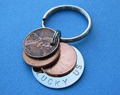 Lucky Us Penny Key Chain - Three Penny USA Coin Charm Custom Penny Keychain Personalized Penny Key Chain