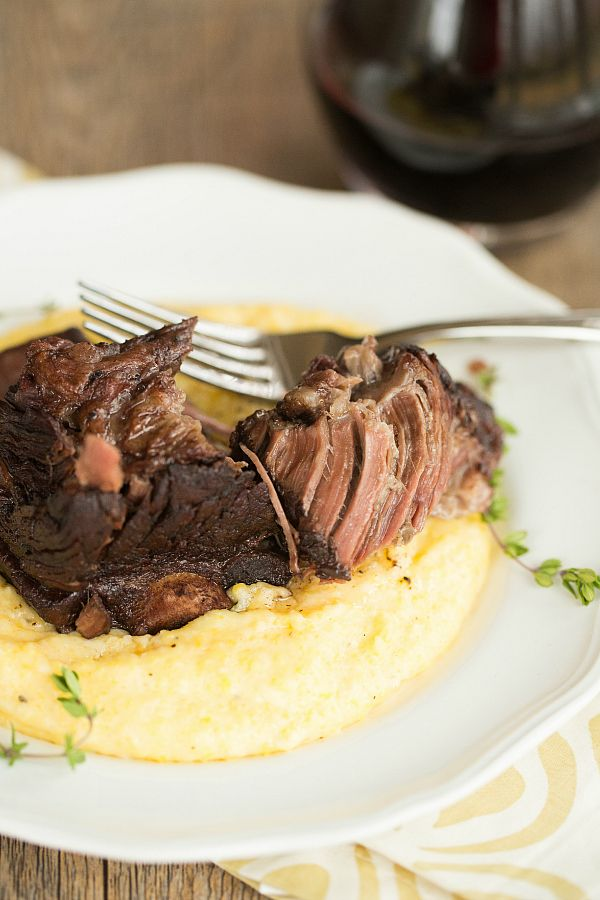 Short Ribs in Red Wine, cooked in slow cooker  Cheesy Grits - easy substitute with cauliflower or root veggie mash