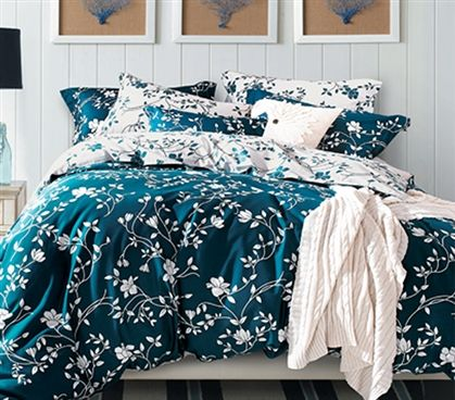 Moxie Vines - Teal and White - Twin XL Comforter Dorm Bedding Extra Long Twin Comforter