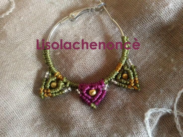 """Orecchini macrame handmade """"cerchio barocco"""" viola di lisolachenonce su Etsy"""