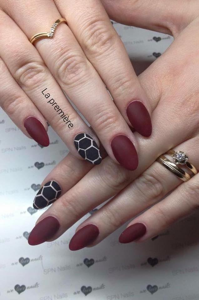 Matowe wykończenie!  Kto jest na tak? <3 SPN UV LaQ 590 Chocolate Cherries  Nails by La première, SPN Nails Team #spnnails #spn #nails  #matowe #matowepaznokcie #paznokcie #mattnails #matt #nails