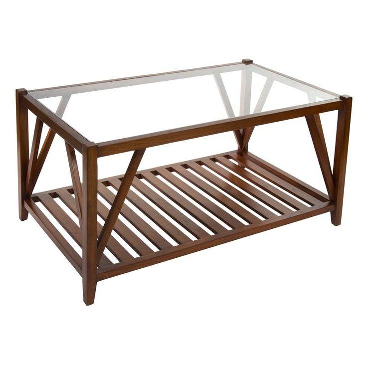 Tienda online con mesas de centro de vidrio, comprar mesa de centro madera tapa cristal. Mesa baja color nogal con estante bajo. Mesa ratona de cristal.