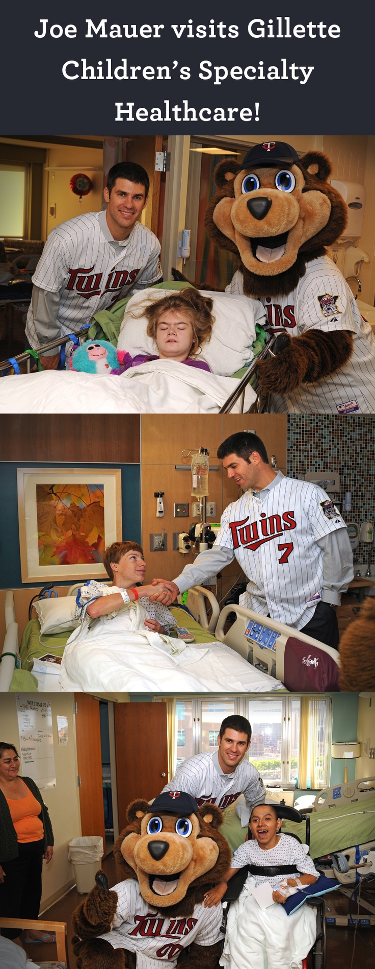 Thank you to #MNTwins player Joe Mauer and TC Bear for visiting kids at Gillette