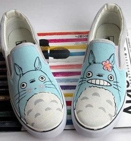 My Neighbor Totoro anime Custom Shoes by handpaintedshoes2014, $39.00