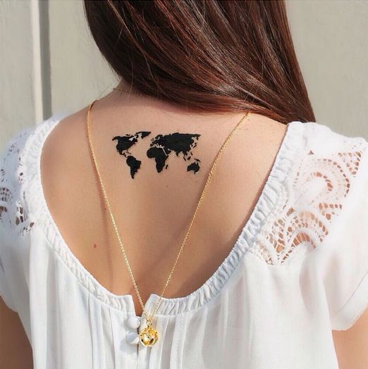 Artelier by Cristina Ramella World Map Tattoos // would rather get on ankle though