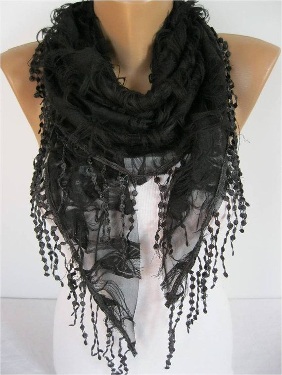 Elegant  Black  Scarf  Cowl with Lace Edge  gift by MebaDesign