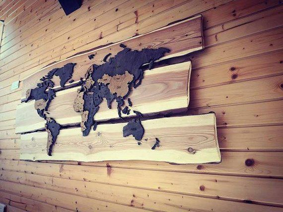 3d Wooden World Map Bold 150 X 75 Cm Wood Veneer Beautiful Wall Color Show