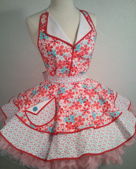 June Cleaver Pin Up Apron Hearts N Flowers 50's by PickedGreen, $68.00
