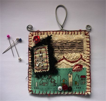 Tiny Shabby Vintage Hanging - original textile art by Maree Clark