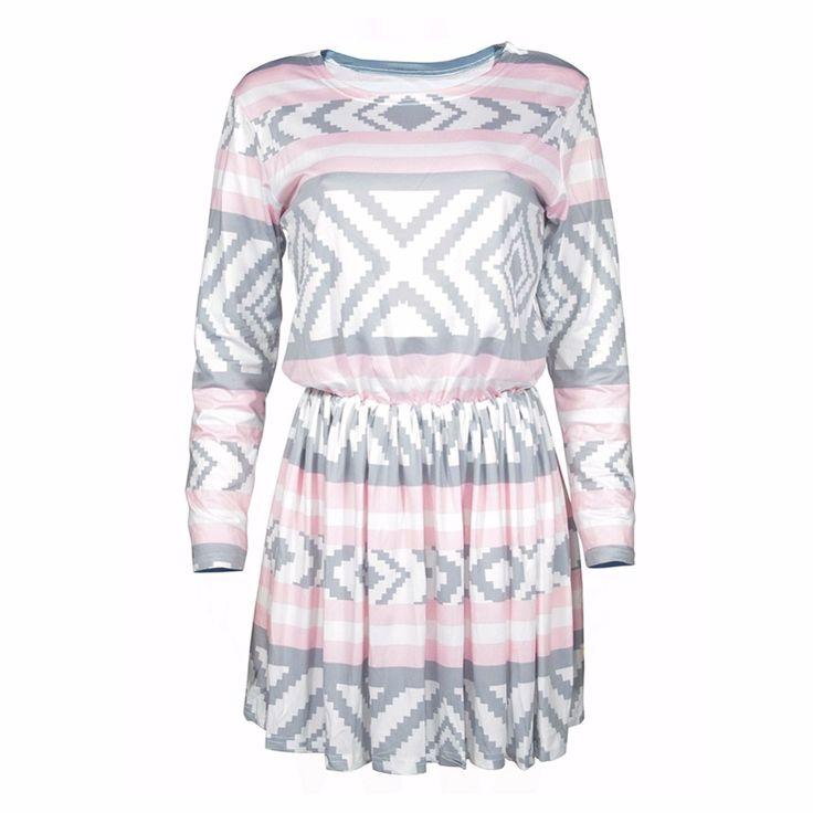BONJEAN  Women Dress Fashion Long Sleeve Geometric Printed Dresses Autumn Ladies O neck Loose Dresses Plus Size