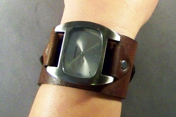 Leather Watch-Brown Watch-Men Watch-Gifts-Men's Gifts-Cuff Watch-Ladies Watch-Women Watch-Gift for Her-Gift for Him-Genuine…
