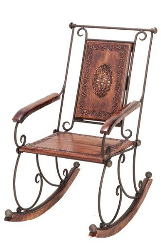 Elegantly Designed Wood Metal Rocking Chair | [Polo's] Furniture