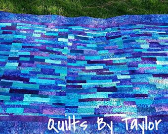 Handmade Blue Quilt, Handmade Quilt, Patchwork Quilt, Throw Quilt, Homemade Quilt, Quilt for Sale, Quilts By Taylor, Hand Dyed Quilt