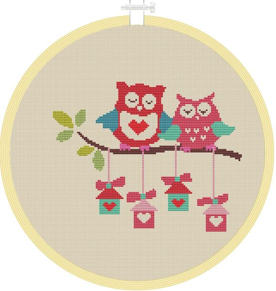 Cross stitch pattern, Counted cross stitch pattern, Instant Download, cross stitch owl, cross stitch PDF, cross stitch bird house