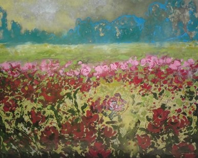 """Mixed media """"Flower Impression"""",  by Nicole Janss"""