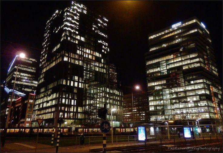 Zuidas office buildings RBS bank by night Amsterdam Zuid - Buitenveldertselaan