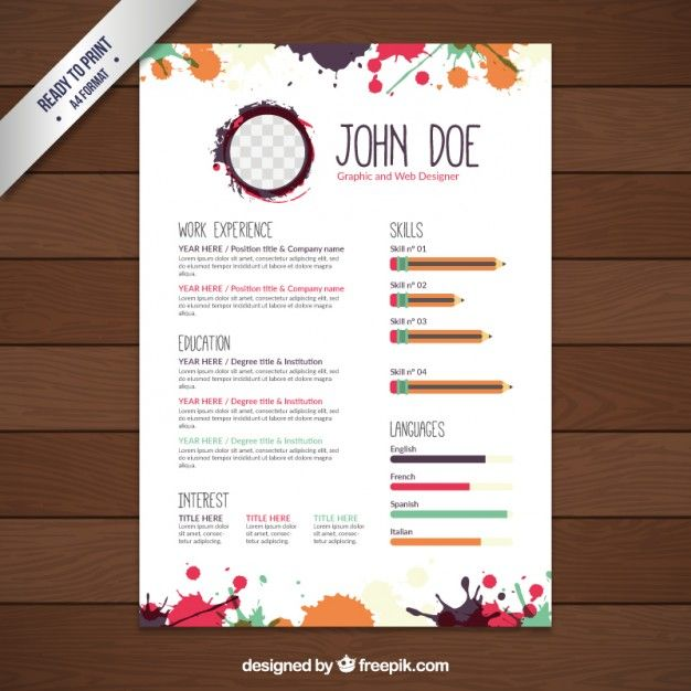 colors splashes resume template premium vector resume template downloadresume template freefree