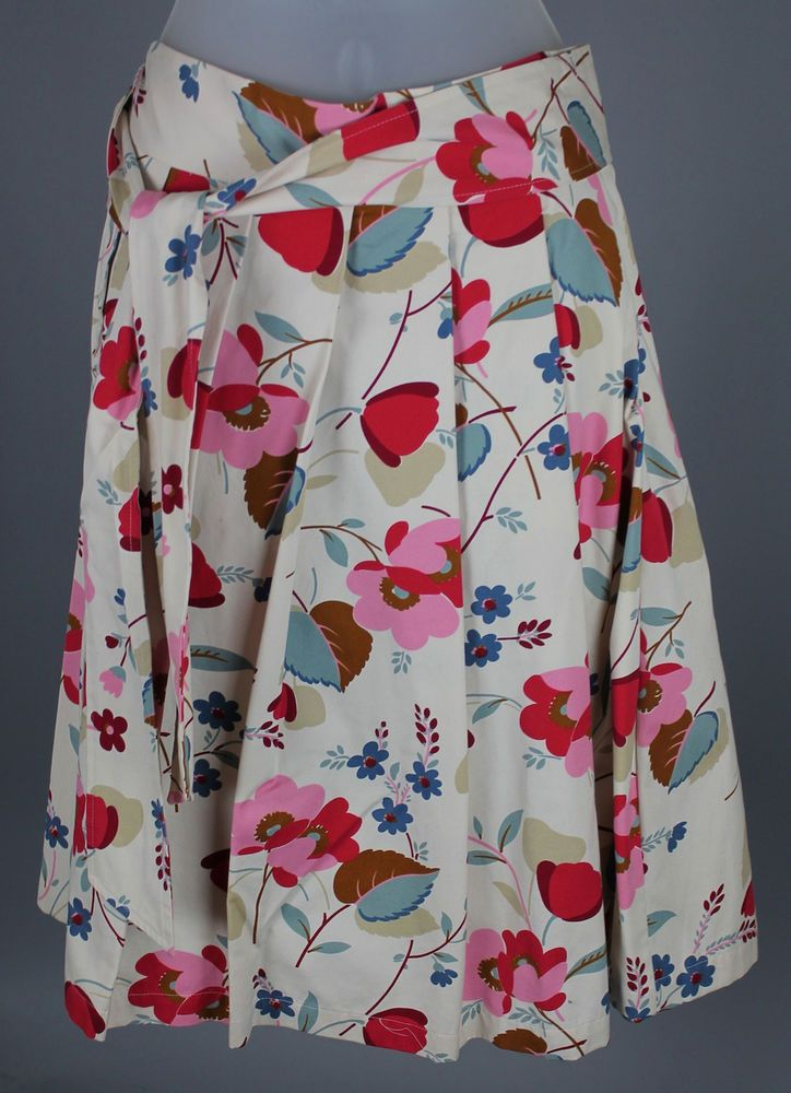Marni Spring 2002 Collection Candyflower Print Pleated Cotton Skirt