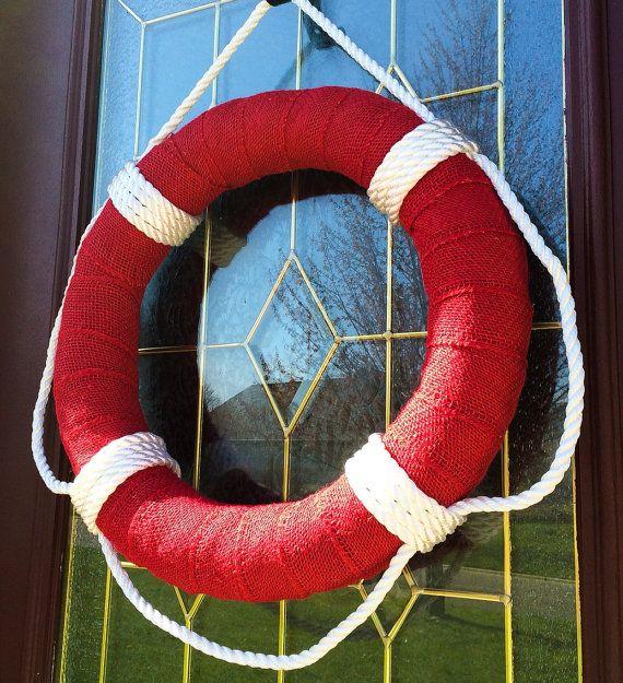 Life Preserver Burlap Wreath, Summer, Pool, Beach, Lake... by TheCraftyChicShoppe
