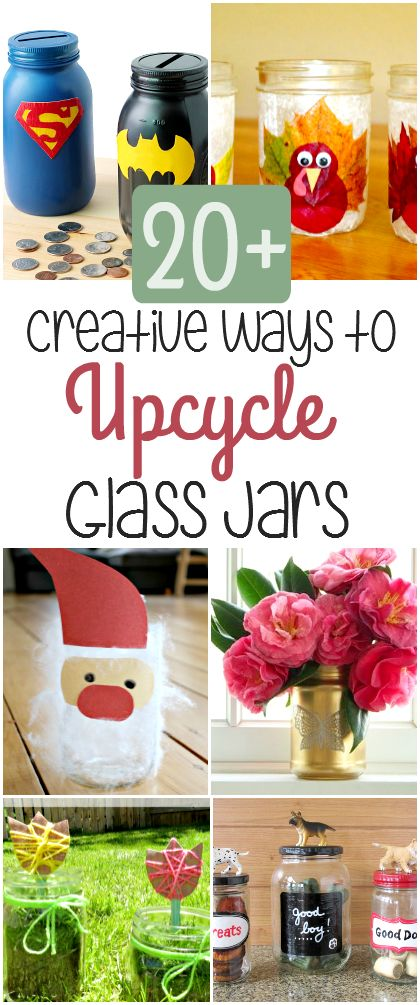 20+ creative ways to upcycle or repurpose glass jars! Save all of your mason jars, pickle jars, jam jars, etc to make these awesome DIY projects.
