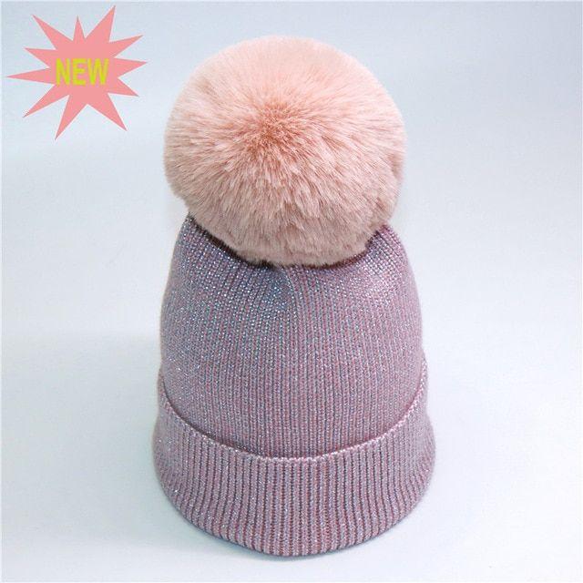 56fa65f307f Wholesale Women PomPom Beanies Caps For Ladies Shiny Hat Black Beanie Knit  Bonnet Female Warm Winter