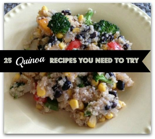 "25 quinoa recipes you need to try!   Did you know: Quinoa contains all of the essential amino acids, making it a ""complete protein."" Just one cup of cooked quinoa contains 18 grams of protein!! - KS"