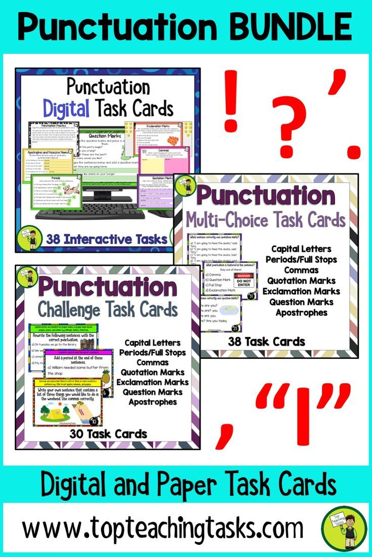 Our Punctuation bundle feature 38 interactive Google slides for Grade 3 and Grade 4, 38 multi-choice task card activities and 30 challenge task cards for Grade 3 and Grade 4 (Year 3, Year 4, Year 5, Year 6). Mobile Learning. Google Resource. Digital Classroom. Develop your students' understanding of the important punctuation tools. Featuring capital letters, periods, full stops, commas, question marks, exclamation marks, quotation marks, apostrophes. Great for revision and test prep…