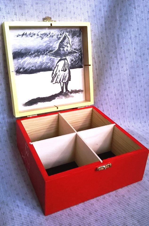Pudełko ręcznie malowane Mała Mi, Włóczykij, Muminek, Paszczak, Ryjek